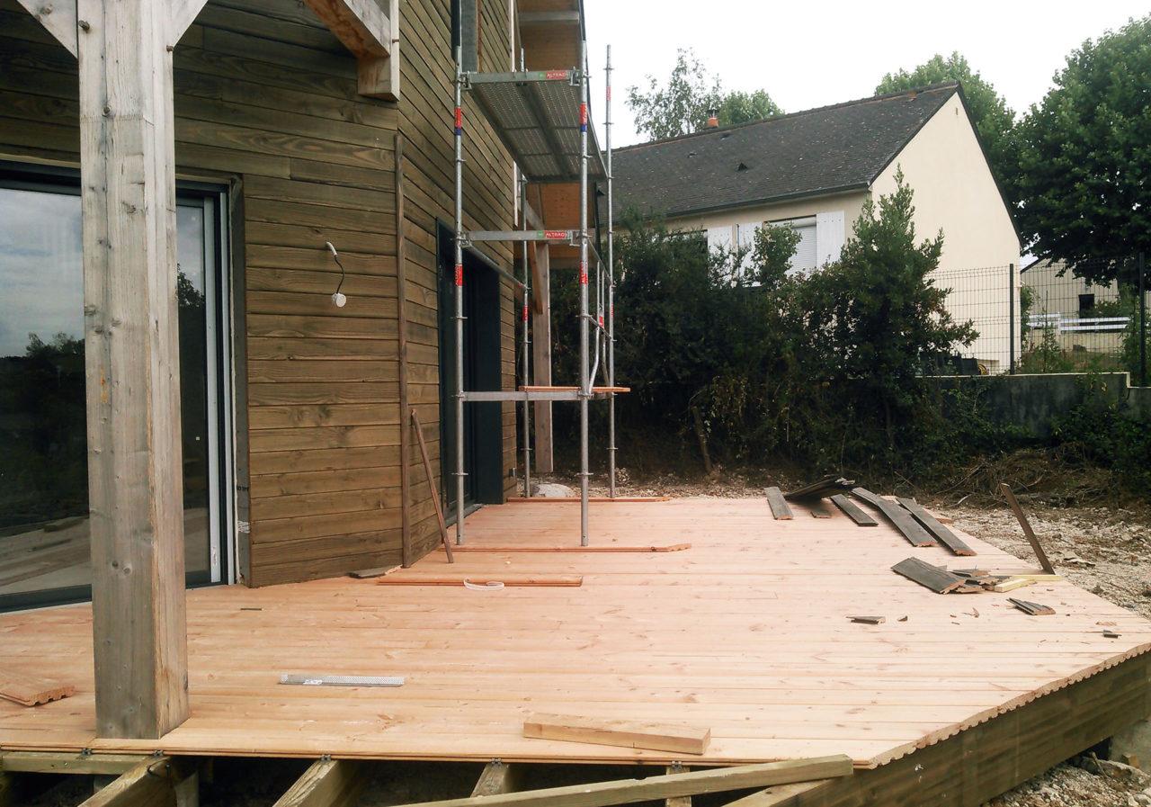 Maison bois terrasse